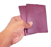 Hand holding passport book isolated on white Royalty Free Stock Photo