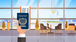 Hand Holding Passport Ticket Boarding Pass Travel Document Airport Background. Flat Vector Illustration vector illustration