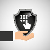 Hand holding password security shield data Stock Photography