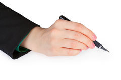 Hand holding pen Royalty Free Stock Images