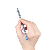 Hand holding a pen Royalty Free Stock Photo