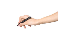 Hand holding pen Stock Photography