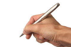 Hand holding pen Royalty Free Stock Photography
