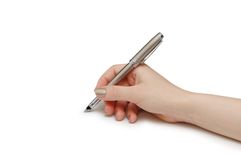 Hand holding pen isolated Stock Photo