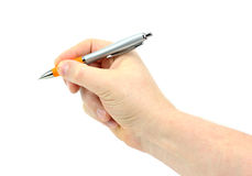 Hand holding a pen isolated on white background Stock Image