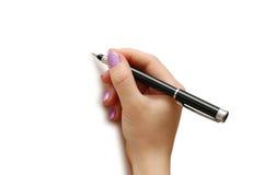 Hand holding pen  isolated on white background. Hand holding pen isolated on white background Stock Photography