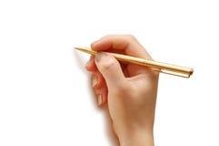Hand holding pen   isolated on white background. Hand holding pen  isolated on white background Stock Images