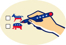 Hand Holding Pen Voting American Election. Illustration of a hand writing with pen voting american election ballot for democrat or republican party Royalty Free Stock Photos