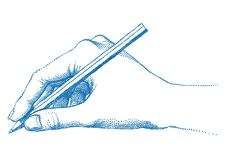 Hand holding pencil,  Royalty Free Stock Photography
