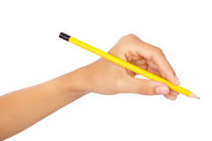 Hand holding a pencil Stock Photography