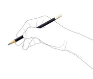 Hand holding pencil Royalty Free Stock Photography