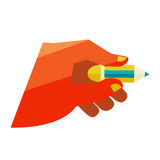Hand holding a pencil Royalty Free Stock Photos