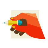 Hand holding a pencil Royalty Free Stock Photo
