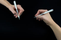 Hand holding pencil, set isolated on black Royalty Free Stock Photos
