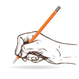 Hand Holding Pencil Stock Photo