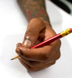 Hand holding a pencil Royalty Free Stock Image