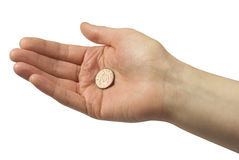 Hand holding a penny Stock Photos