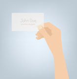 Hand holding personal business card illustration Stock Photo