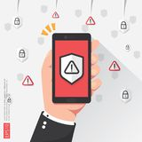 Hand holding phone with attention warning alert sign with exclamation mark symbol on screen. shield line icon for Internet VPN Sec. Urity protection Concept Stock Illustration