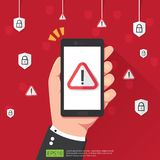 Hand holding phone with attention warning alert sign with exclamation mark symbol on screen. shield line icon for Internet VPN Sec. Urity protection Concept royalty free illustration