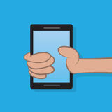 Hand Holding Phone. Hand holding a cell phone Royalty Free Stock Photos