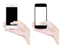 Hand holding phone clipping path isolated white Stock Photos