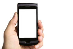 Hand holding phone, clipping paths included Stock Photo