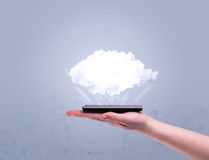 Hand holding phone with empty cloud Royalty Free Stock Photo