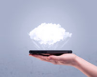 Hand holding phone with empty cloud Royalty Free Stock Images