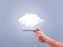 Hand holding phone with empty cloud Royalty Free Stock Photos