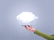 Hand holding phone with empty cloud Royalty Free Stock Image