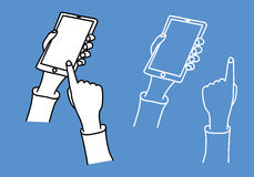 Hand holding phone in a hand drawn sketch cartoon style Stock Photos