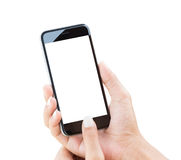 Hand holding phone isolated with clipping path Royalty Free Stock Images