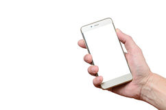 Hand holding a phone isolated on a white background located on the right up Stock Images