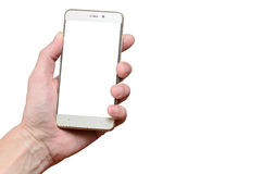 Hand holding a phone isolated on a white background, located to the left up Royalty Free Stock Photos