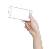 Hand holding phone isolated on white clipping path inside Stock Image