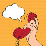 Hand holding a phone, pop art illustration royalty free illustration