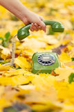 Hand holding phone receiver in autumn park Royalty Free Stock Image