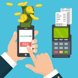 Hand holding a phone. Smartphone wireless money transfer to pos. Mobile pos payment concept. Hand holding a phone. Smartphone wireless money transfer to pos Stock Photography