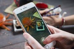 Hand holding phone and taking photo of fresh japanese sushi rolls. royalty free stock photo