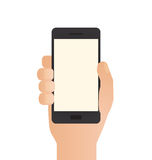 Hand Holding Phone. On white background Stock Photos