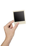 Hand holding photo frame isolated Royalty Free Stock Image