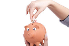 Hand holding a piggy bank and coin Royalty Free Stock Image