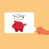 Hand holding piggy bank saving money for future. saving for college. Royalty Free Stock Images