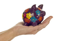 Hand Holding Piggy Bank Stock Image