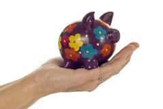 Hand Holding Piggy Bank stock image