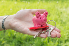 Hand holding piggy and keys as symbol of savings and mortgage Royalty Free Stock Photo