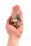 Hand holding pile of coins Royalty Free Stock Photos