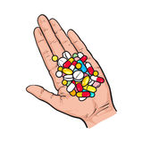 Hand holding pile of colorful pills, tablets in open palm. With straight fingers, sketch style vector illustration on white background. Hand drawn hand holding Stock Image
