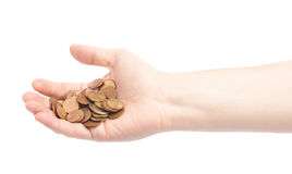 Hand holding a pile of euro coins Royalty Free Stock Photo